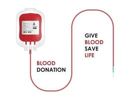 Blood donation concept. Blood bag isolated on white background, vector illustration