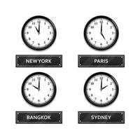 World time zone clock isolated on white background, vector illustration
