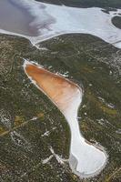 Overhead view of abstract shaped orange lake photo