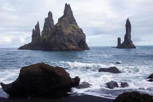 Black beach in Vik, Iceland photo