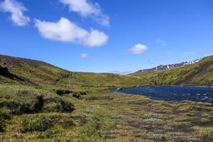 Glacial river in Iceland on Landmannalaugar trail photo