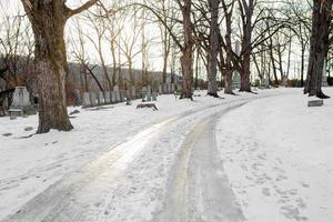 New England cemetery in winter photo