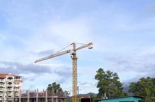Yellow construction tower crane