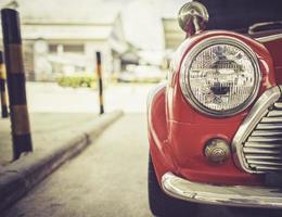 The headlight of a vintage car retro style