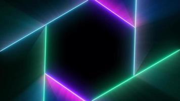 hexágono néon piscando luzes formas coloridas em um fundo preto
