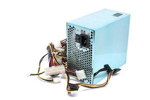 500W Power supply unit with cables and switch I O for PC computers isolated on a white background photo