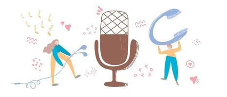 audiochat concept, podcast show hand drawn flat vector illustration