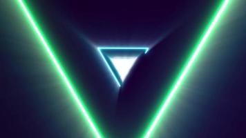 Abstract Colorful Neon Laser Light Triangle Corridor Background
