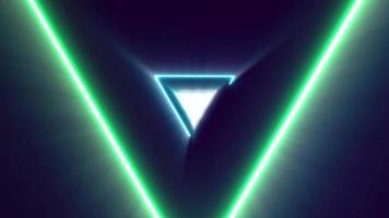 fundo colorido abstrato do corredor do triângulo de luz neon laser