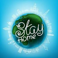 Stay home vector illustration with the Earth and city landscape