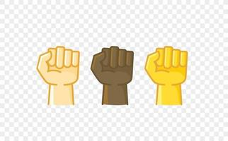 Different color hand gesture comic style vector icon. Fist