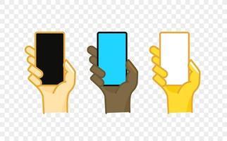 Icono de vector de estilo cómico de gesto de mano de color diferente. smartphone en una mano