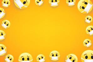 Epidemic. Wallpaper with emojis. Vector frame with copy space for social media web sites or banners
