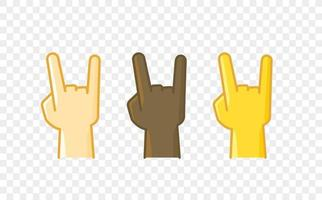 Different color hand gesture comic style vector icon. Heavy metal