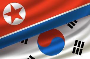 corea del sur y del norte. vector de fondo con banderas