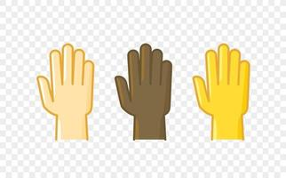 Different color hand gesture comic style vector icon. Palm