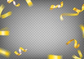 imágenes prediseñadas de vector de cintas de oro. Confeti de oro volador de lujo y estrellas aisladas sobre fondo transparente