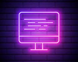 codificación icono de neón vector