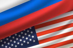 estados unidos y rusia. vector de fondo con banderas