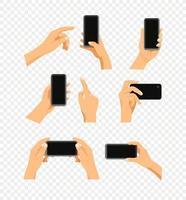 Gesto humano usando un moderno conjunto de vectores de teléfonos inteligentes aislado en transparente