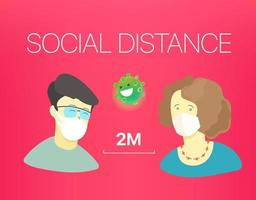 Social distance banner. Vector illustration with people and text