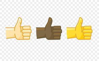 Icono de vector de estilo cómico de gesto de mano de color diferente. Pulgares hacia arriba