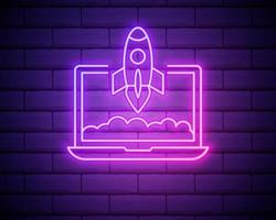 Startup pink glowing neon ui ux icon vector