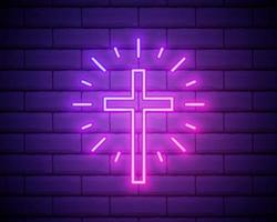 iluminación de neón de la cruz vector