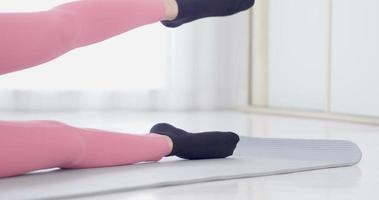 Close Up of Woman's Legs Working Out at Home video