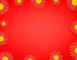 Red flowers wallpaper. Social media message vector background. Copy space for a text