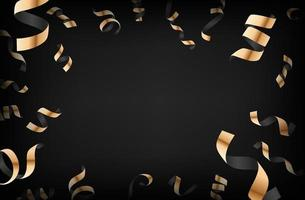 Luxury background with golden falling confetti on dark background vector