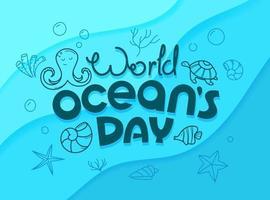 World oceans day vector concept. Doodle vector logo