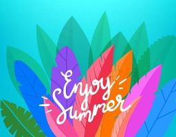 Enjoy summer vector card with lettering inscription. Landing page vector template