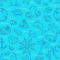 Ocean blue seamless background. Doodle vector elements
