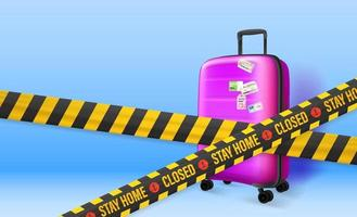 Stay home concept. Plastic suitcase on blue background with tapes