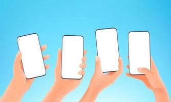 Using modern smartphone vector concept. Hands holding modern smartphones