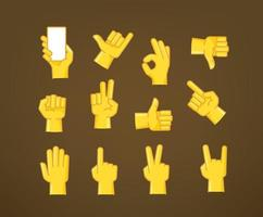 Hand gesture comic style vector icons collection