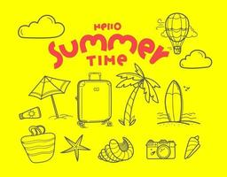Hello summer time doodle vector elements with lettering inscription