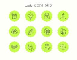 Doodle vector icons set isolated on white. Web icons set 3
