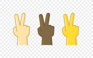 Different color hand gesture comic style vector icon. Victory sign