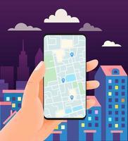 Man with modern smartphone. Using navigation mobile app vector