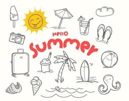 Hello summer doodle vector elements with lettering inscription