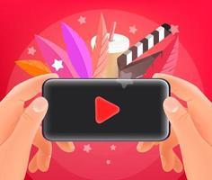 Watching video via smartphone. Man holding modern smartphone. Trendy style illustration