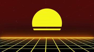 Fond de paysage de grille de science-fiction rétro des années 80