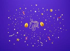 Gold egg and golden confetti and stars Happy Easter vector