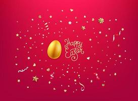 Gold egg and golden confetti and stars. Happy Easter vector
