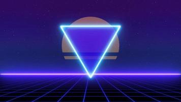 Grade de triângulo a laser de estilo retro 1980 movendo-se sobre o fundo da paisagem