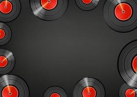 Retro vinyl discs wallpaper. Social media message vector background. Copy space for a text