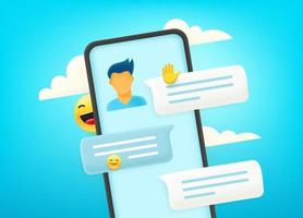 chatear a través de un teléfono inteligente moderno. dialogar con el joven vector