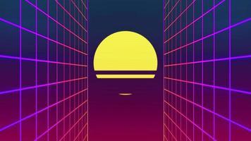paysage de grille de mouvement de style rétro 1980 avec fond de soleil numérique